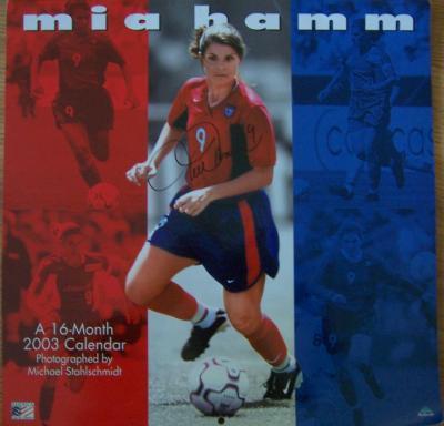 Mia Hamm autographed 2003 soccer calendar (full name signature)