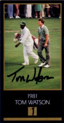 Tom Watson autographed 1981 Masters Champion golf card