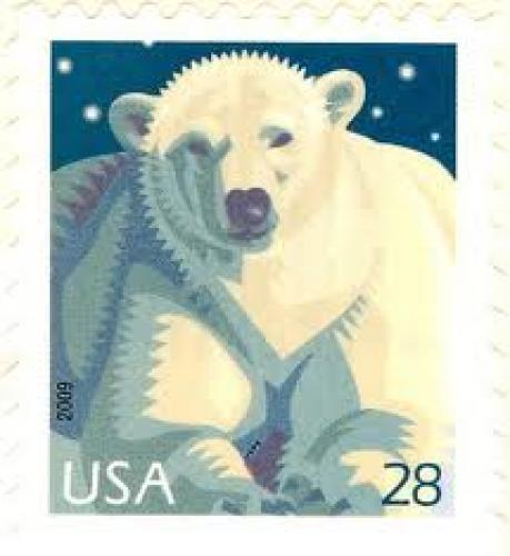 Stamps; USA polar bear stamp from 2009 for 28 cents