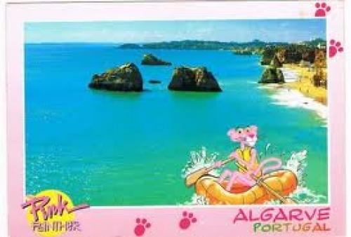 Postcard from Portugal - Pink Panther at Algarve beach