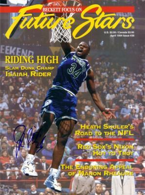 Isaiah (J.R.) Rider autographed Minnesota Timberwolves 1994 Beckett cover