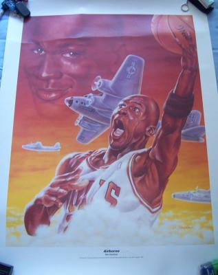 Michael Jordan 1992 Airborne 24x32 lithograph by Dan Gardiner