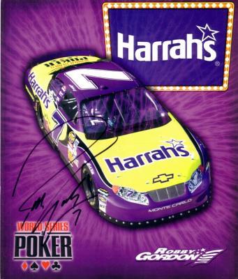Robby Gordon (NASCAR) autographed 8x10 Harrah's photo card