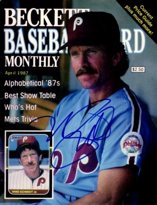 Mike Schmidt autographed Philadelphia Phillies 1987 Beckett Baseball cover