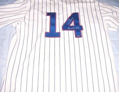 Ernie Banks autographed Chicago Cubs authentic jersey inscribed HOF 77