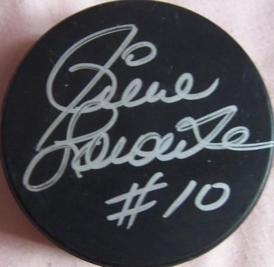Pierre Larouche autographed hockey puck