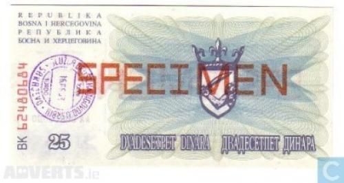 Bosnia Herzegovina 25 Dinara SPECIMEN