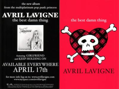 Avril Lavigne The Best Damn Thing 4x6 promo card