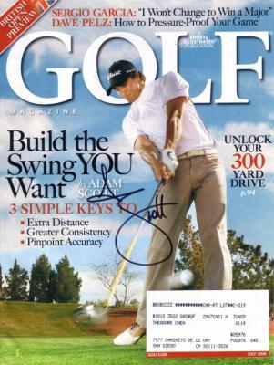 Adam Scott autographed 2008 Golf Magazine cover