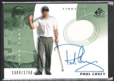 Paul Casey certified autograph worn shirt 2002 SP Golf card