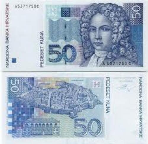 Banknotes; Croatia 50 Dinara 1991 front image