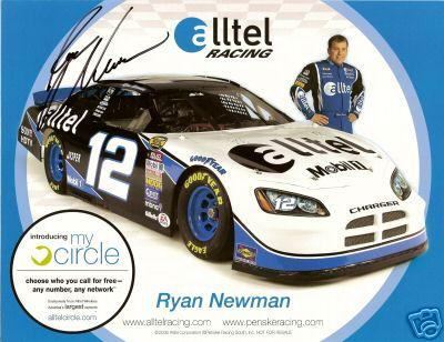 Ryan Newman (NASCAR) autographed 8 1/2 by 11 photo card