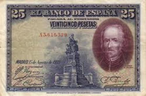 Banknotes, Spain  25 Pesetas