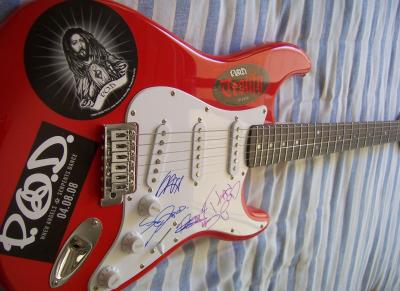 Payable On Death (P.O.D.) autographed Fender Squier Bullet red electric guitar