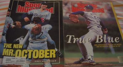 Orel Hershiser 1988 & 1991 Los Angeles Dodgers Sports Illustrated issues