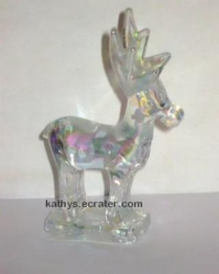 Clear  Iridescent Glass Reindeer Deer Buck Animal Figurine