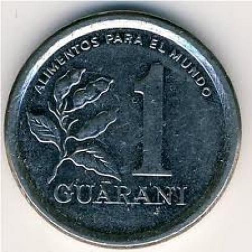 Coins; Paraguay, 1 guarani, 1978–1988