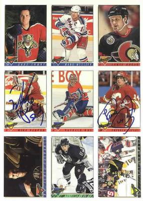 Theo Fleury & Mike Vernon autographed Topps promo card sheet