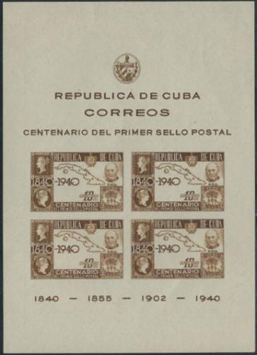 Stamp centenary s/s; Year: 1940