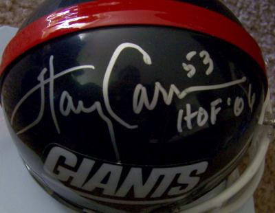Phil Simms & Harry Carson autographed New York Giants throwback mini helmet
