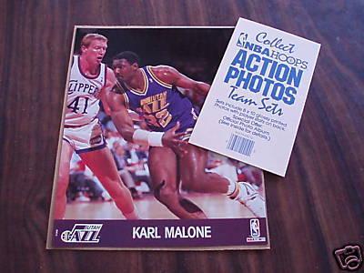 Karl Malone Utah Jazz 1990 NBA Hoops 8x10 photo