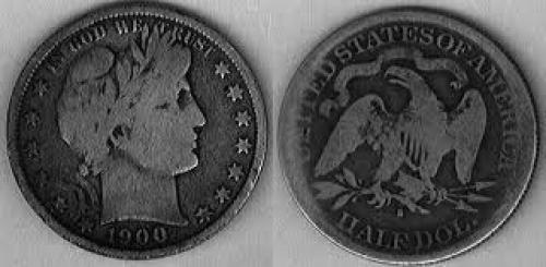 Coin; 1900-US-50 Cent Barber; US coins