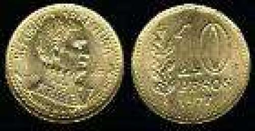10 Pesos; Year: 1977; (km 74); aluminum bronze; BICENTENARIO ALMIRANTE G.BROWN DEN.LAUREL