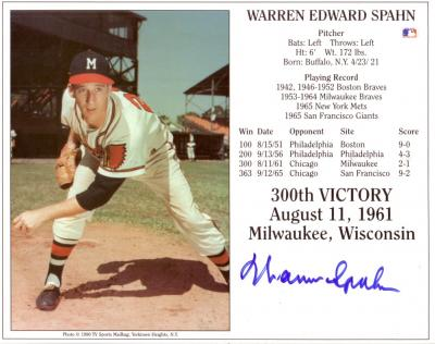 Warren Spahn autographed Milwaukee Braves 8x10 Hall of Fame photo card