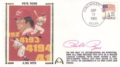 Pete Rose autographed Cincinnati Reds 4193 Hits cachet envelope