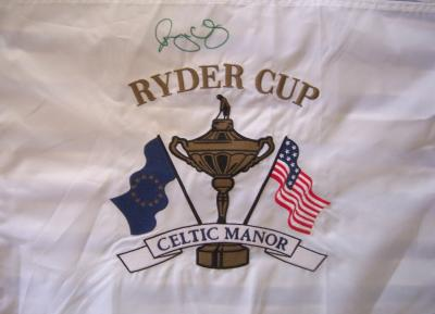 Rory McIlroy autographed 2010 Ryder Cup Celtic Manor embroidered pin flag