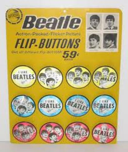 FLIP BUTTONS 59; BEATLES MEMORABILIA ITEMS