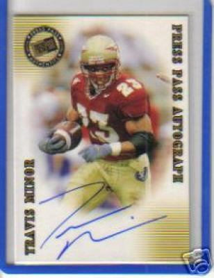 Travis Minor certified autograph Florida State 2001 Press Pass card #51/250