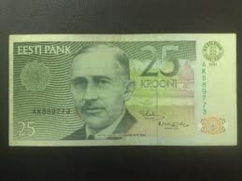 Banknotes; Estonia..25 krooni 1991