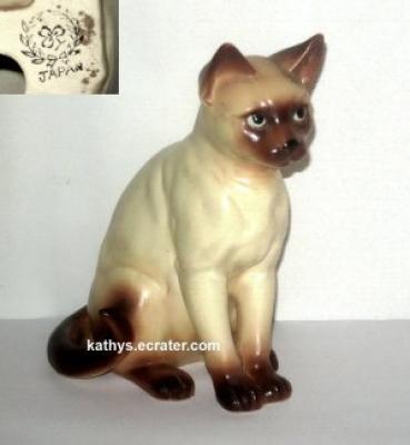 Nippon Japan Porcelain Siamese Cat Sitting Animal Figurine