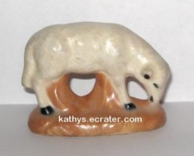 Ceramic Grazing Sheep Lamb Animal Figurine