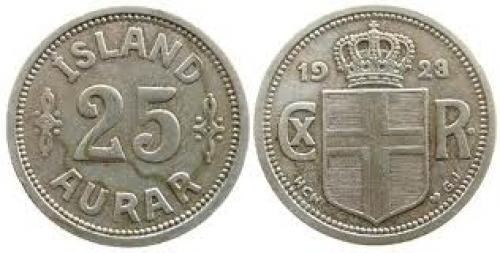 Coins;  Iceland KN Christian X, Siegs 16 25 Aurar 1923 ss