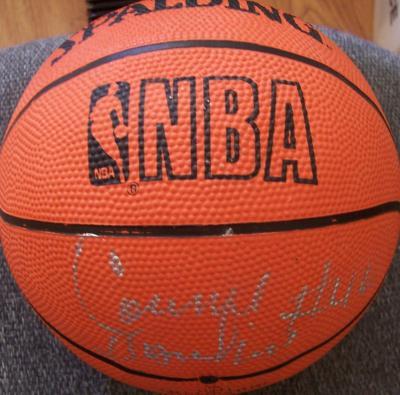 Connie Hawkins autographed Spalding NBA mini basketball