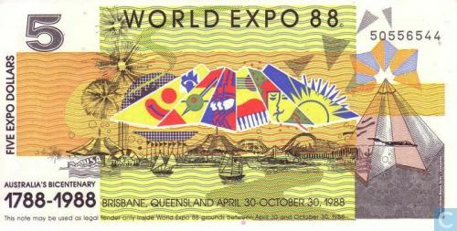 Australia 5 Dollars 1988 (World Expo)