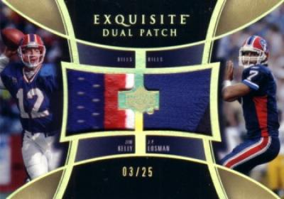 Jim Kelly & J.P. Losman 2005 Upper Deck Exquisite Dual Patch game jersey card #3/25