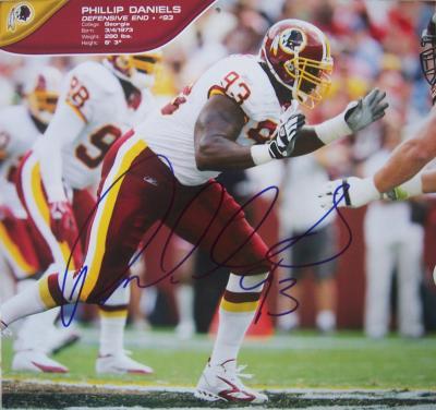 Phillip Daniels autographed Washington Redskins calendar page