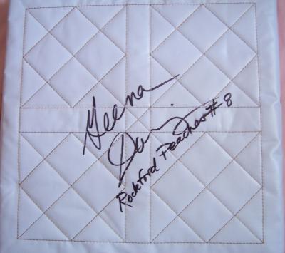 Geena Davis autographed base inscribed Rockford Peaches #8