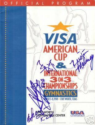 Kristen Maloney (2000 USA Olympic Gymnastics Team) autographed 1998 Visa American Cup program