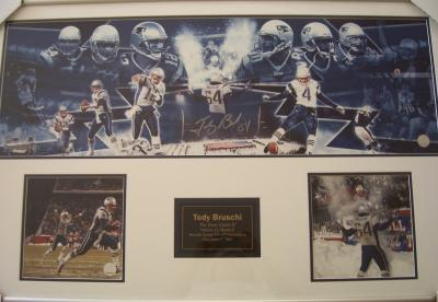 Tedy Bruschi autographed New England Patriots Snow Game photos framed