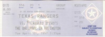 1997 Milwaukee Brewers at Texas Rangers Opening Day full unused ticket