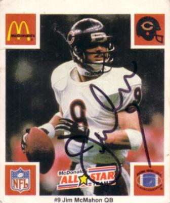 Jim McMahon autographed Chicago Bears 1986 McDonald&#039;s card