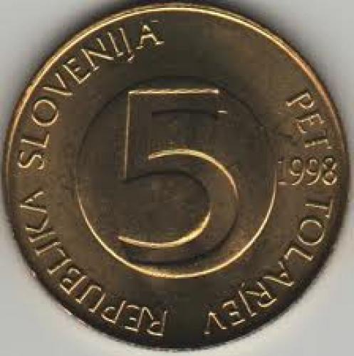 Coins; Slovenia 5 Tolarjev 1998