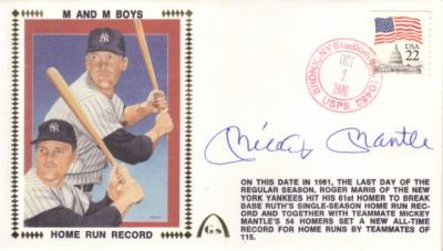 Mickey Mantle autographed New York Yankees HR Record 1986 Gateway cachet envelope
