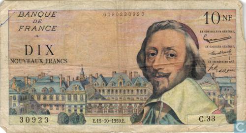 Frankreich 10 NF 1959