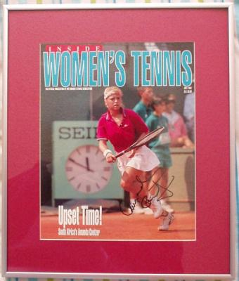 Amanda Coetzer autographed Women's Tennis magazine cover matted/framed