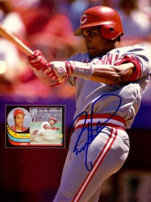 Barry Larkin autographed Cincinnati Reds Beckett Baseball back cover photo